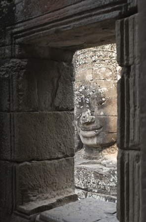 God face architecture in Angkor Wat, Cambodian world heritage.