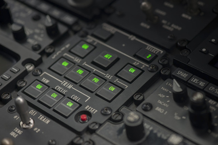 radio unit: Flight avionics digital control instrument for airplane navigation.
