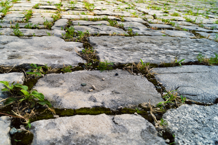 The old road of large stone slabs.