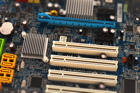Computer motherboard, close-up. Electronic technology. Imagens