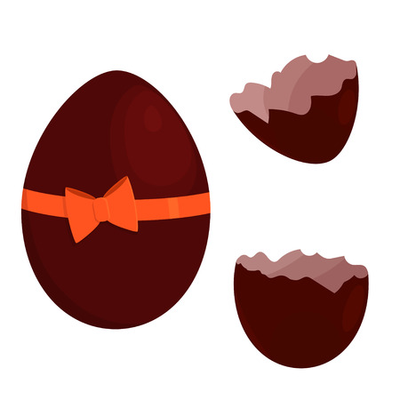 Chocolate egg tied with a ribbon with a bow. Vector image of a broken shell. Isolated on white background. A gift for Easter.