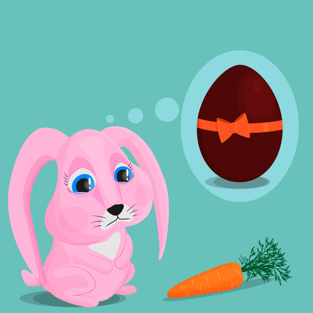 A sad pink bunny looks at a carrot and dreams of a big chocolate egg. The concept of inconsistency of reality and desires. Foto de archivo - 124386097