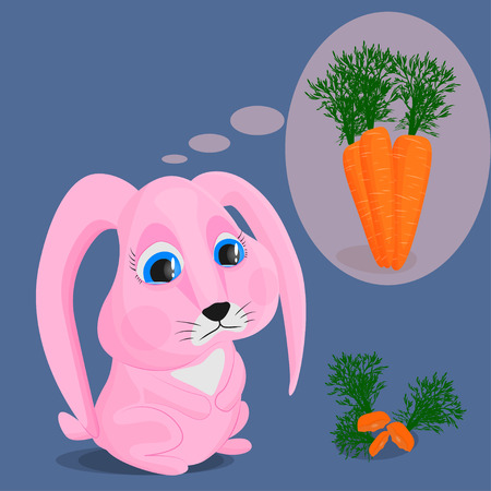 The pink rabbit ate all the carrots and dreams of adding more. Vector image of a sad cute bunny, ripe carrot and its leftovers. The concept of hunger and lack of food.