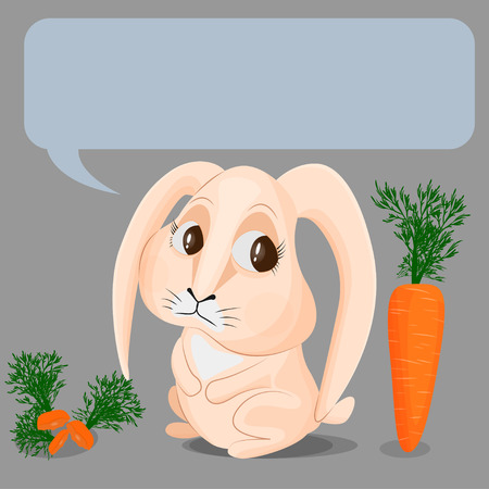 The beige rabbit has already eaten three carrots, but still wants to eat another one. The concept of gluttony, excess in food, gluttony. Vector image of a cute bunny and ripe carrots on a gray background. Place for text.