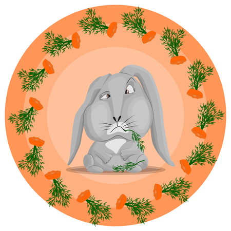 Vector pattern with a gray rabbit that has eaten carrots. The remains of carrots in a circle on an orange background. The concept of gluttony and indifference in food.