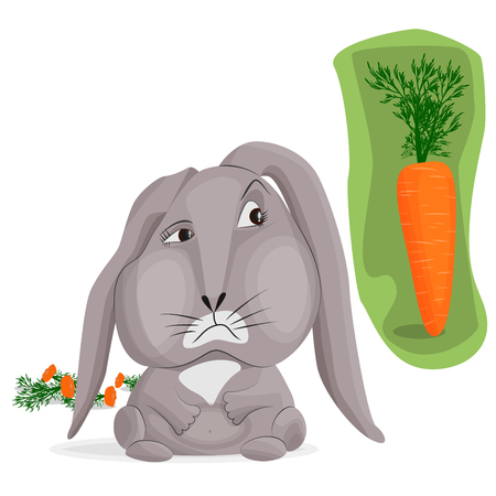Vector image of a gray sad bunny on a white background. Rabbit looks at a big beautiful carrot on a green background. Behind a lot of leftovers from eating carrots. The concept of gluttony and excess in the diet. Foto de archivo - 120985806