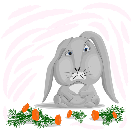 The gray rabbit ate all the carrots, leaving only bits with green tops. Vector image of a sad bunny on an abstract background. The concept of overeating, lack of restraint in food. Standard-Bild - 120985807