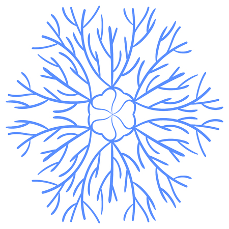snowflake in hand drawing style. For the design of the theme of winter, cold. Abstract background for the site, cards, invitations, business cards. Illustration