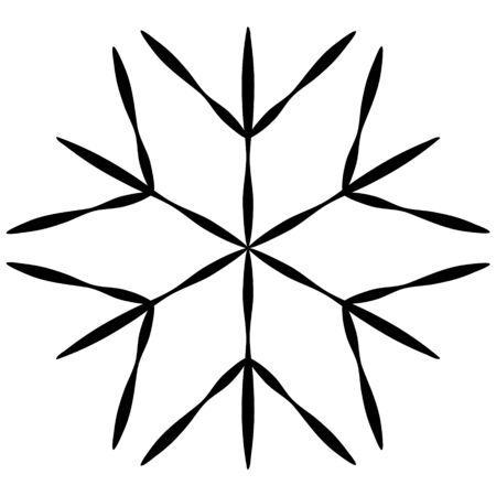 Black snowflake isolated on white background in hand drawing style. Element to create a winter design, abstract background, texture. Silhouette of a star, symbol of snowflakes.