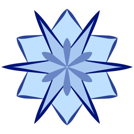 Blue snowflake in flat style on a white background. Snow icon for winter design.