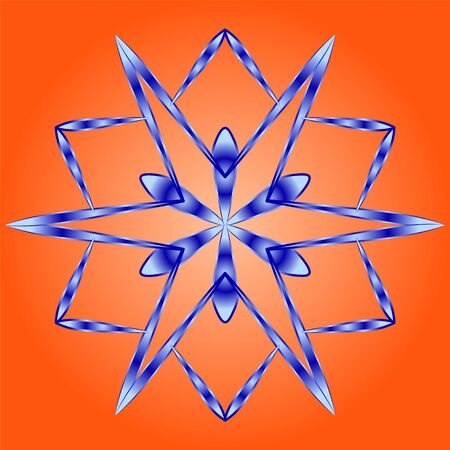 Original snowflake with gradient shading of blue color on an orange background.