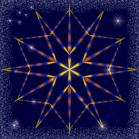 Bright snowflake with gradient shading of yellow, orange and blue. Dark blue sky with bright stars and a frame of snow blizzard.