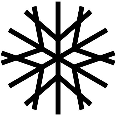 Black snow icon on a white background. Stylized snowflake in linear style.