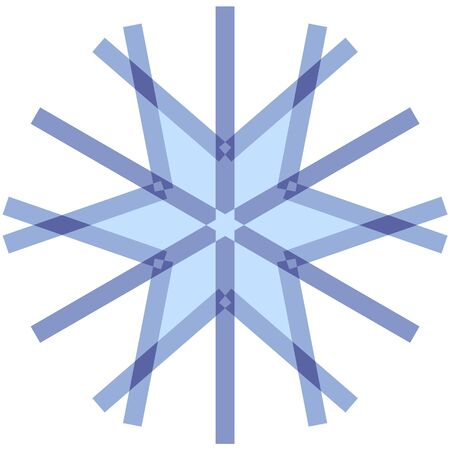 Geometric crystal snowflake on winter themes. Snow icon blue on white background. Element to create a Christmas, New Years design. Иллюстрация