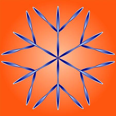 Blue snowflake on orange background. Snowflake icon. Element to create a Christmas, New Year background.
