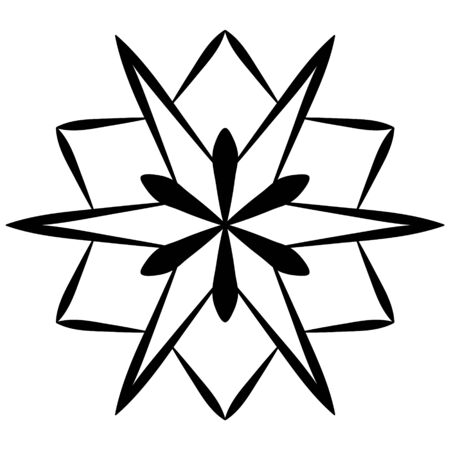 Stylized black snowflake on a white background. Snow icon for design on winter themes. Snowflakes symbol for background, texture.