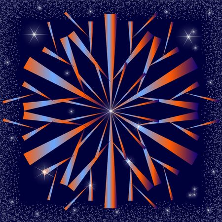 Beautiful stylized snowflake with a gradient fill of blue and orange. Night sky with bright stars with a frame of snow blizzard.