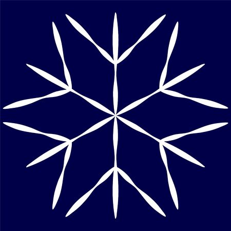 Large snowflake on a blue background to create a design on the theme of cold, winter space.