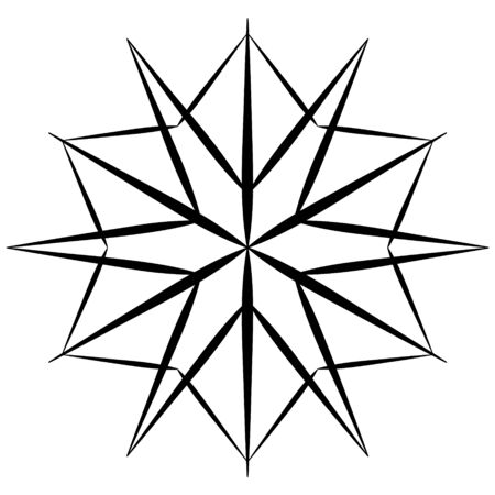 Black snowflake icon on white background. Stylized snowflake in hand drawing style. Element for winter pattern, design of christmas textures, abstract background.