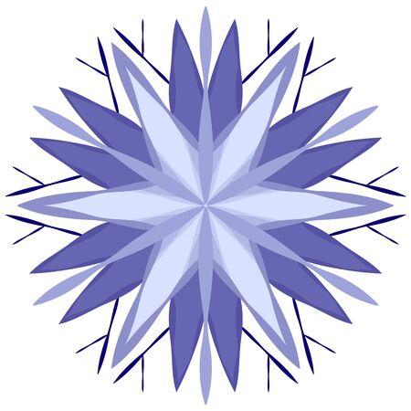 Stylized blue snowflake icon on white background. Иллюстрация