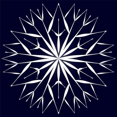 Stylized original white snowflake on a dark blue background.