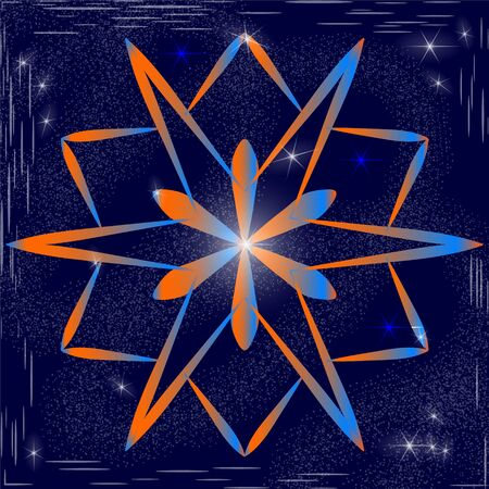 The original snowflake with a gradient fill of orange and blue on the background of snow in the sky with bright stars. Crystal of snow in space. Element for design of winter and cosmic themes. Çizim