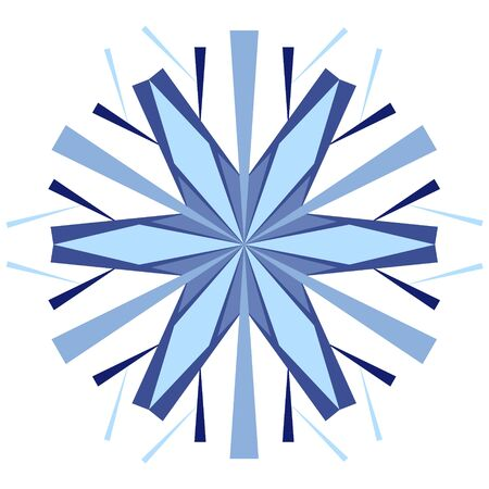 Snow icon on a white background. Blue stylized snowflake for design on winter themes. Element for abstract background, christmas texture.