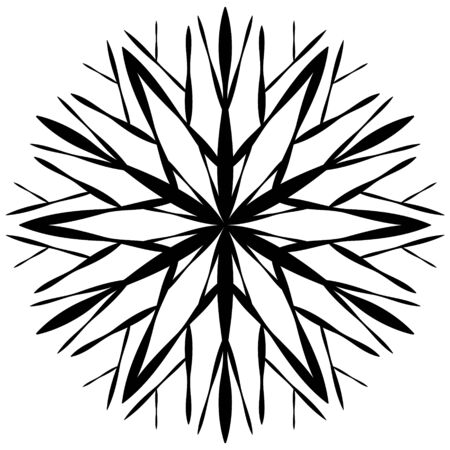 Black snowflake symbol on a white background in hand drawing style. Snow icon for winter design. Element for abstract background, texture.