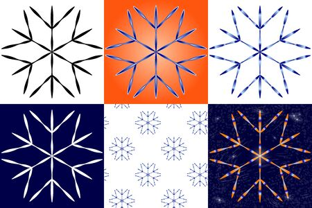 Big snowflake in 6 application options - different colors, background, seamless pattern.