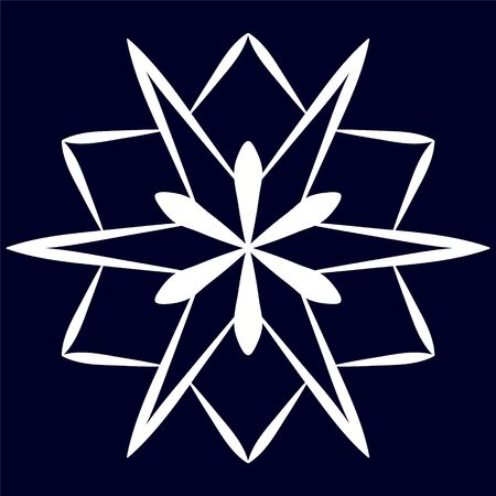 Big stylized snowflake on a blue background.