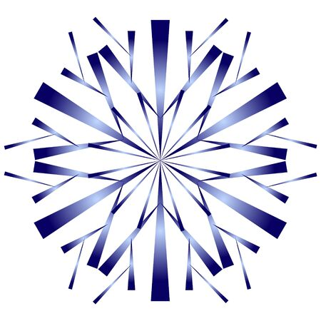 Stylized blue snowflake with gradient shading on a white background.