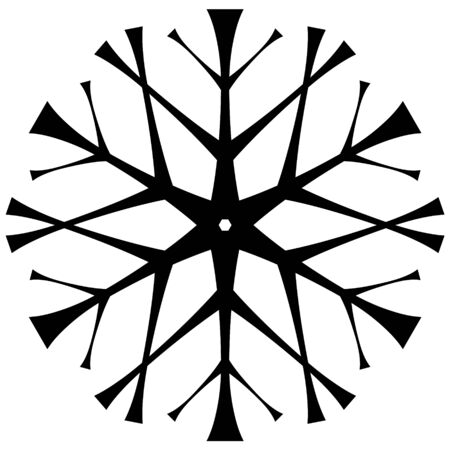 Stylized snowflake in hand drawing style. Isolated on white background black. Snow silhouette for design on winter themes.