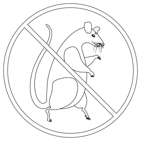 Prohibition sign for rats, mice and harmful rodents.