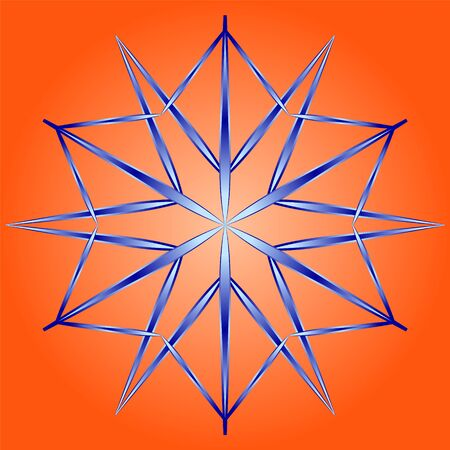 snowflake in style flat on an orange background. Snow icon with gradient fill. Element to create a design for winter themes.