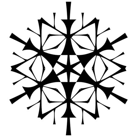 Black snowflake on a white background in the style of hand drawing.