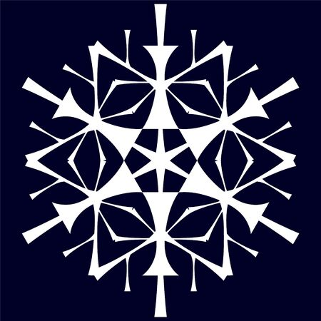 stylized white snowflake on a blue background in the style of hand-drawing.