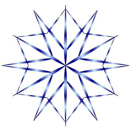 Winter icon - blue snowflake with gradient shading on a white background.