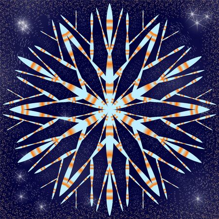 Snowflake with gradient shading against the night sky with bright stars and snowstorm.