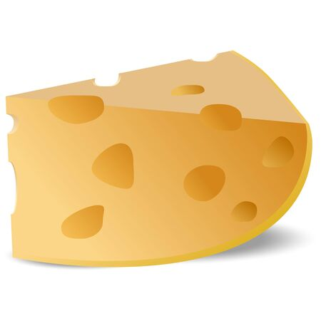 A piece of cheese with large holes on a white background.  イラスト・ベクター素材