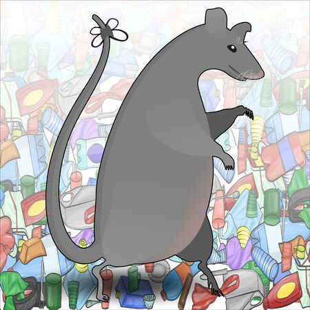 A large gray rat walks on its hind legs amid trash made of plastic objects. Concept of environmental pollution and danger from rodents.