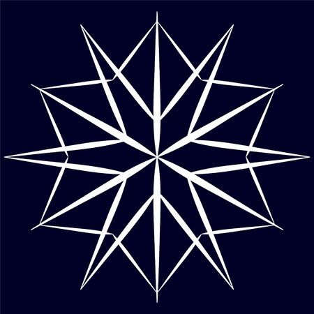 White big snowflake in linear style on blue background.