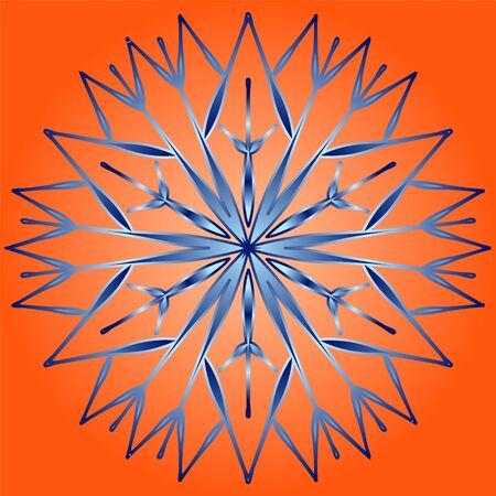 Original icon with snowflake on orange background.