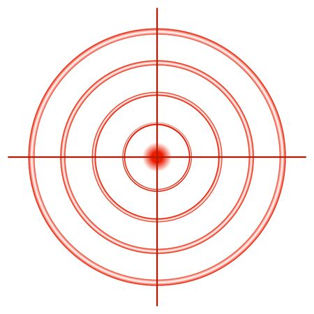 Sight for shooting from red circles with a cross hair. Target for shots. Ilustração