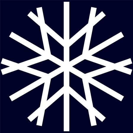 Simple white snowflake in linear style on a dark blue background.