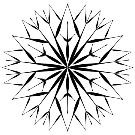 Snowflake in hand drawing style. Element to create a winter pattern, abstract background. Иллюстрация