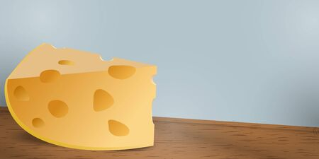 A large piece of cheese on a wooden table.  イラスト・ベクター素材