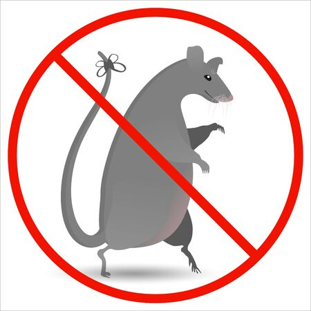 Prohibition for harmful rodents. Prohibitory round sign red with a big gray rat in a flat style.