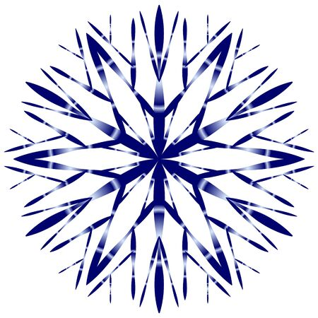 Blue snowflake on a white background in hand-drawing style with a gradient fill. Иллюстрация