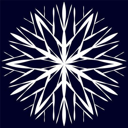 White original snowflake on a dark blue background.