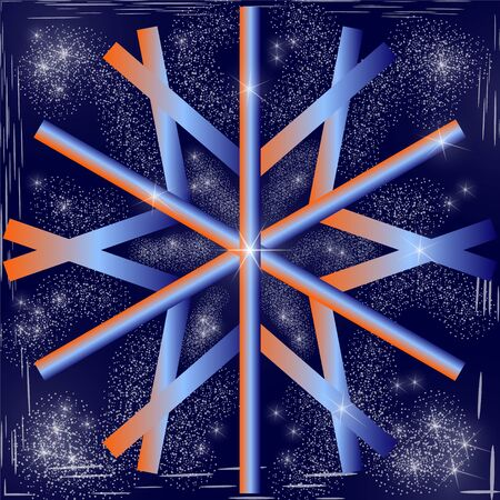 Large geometric snowflake with a gradient orange and blue fill. Night dark blue sky with bright stars and snow blizzard.